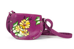 A floral pattern womens hand bag royalty free stock photos