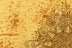 Floral Pattern on Wood Texture Stock Images