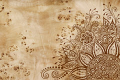 Floral Pattern on Wood Texture Stock Image