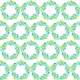 Floral pattern with the wreaths of turquoise and blue beautiful flowers painted in watercolor on a white background Stock Photos