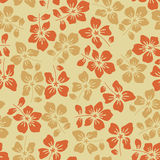 Floral pattern on yellow background. Floral pattern with beautiful yellow and orange flowers Stock Images