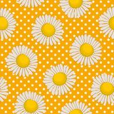 Floral pattern on a yellow background with polka dots. Seamless sample with chamomile flowers. Vector illustration Royalty Free Stock Photo