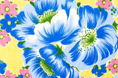 Floral pattern on yellow fabric. Stock Photography