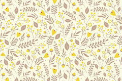 Floral pattern with yellow flowers. Seamless floral pattern with yellow flowers and beige leaves on light yellow background Stock Photos