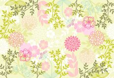 Floral patterns. Abstract flower composition on a green background Stock Photos
