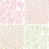 Floral patterns. Four kind of seamless floral patterns Royalty Free Stock Images