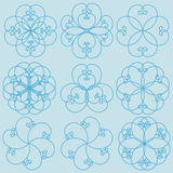 Floral Patterns. Floral repeat patterns on blue background (print, seamless background, wallpaper Royalty Free Stock Photo