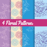 4 Floral Patterns Royalty Free Stock Images