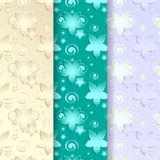 Floral patterns beige, turquoise, blue Stock Image