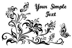 Floral Patterns and Butterflies Contours Royalty Free Stock Images