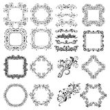 Floral patterns for card and invitation decoration. Filigree frames and dividers. Vector illustration isolated on white background Stock Images