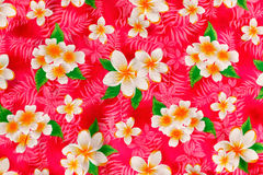 Floral patterns on fabric. Painting traditional flower on fabric Royalty Free Stock Image