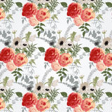 Floral patterns in retro style. With amaryllis and buttercups Stock Photography