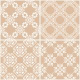 Floral patterns. Set of beige and white seamless backgrounds. Vector illustration Royalty Free Stock Image