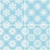 Floral patterns. Set of blue and white seamless backgrounds. Vector illustration Royalty Free Stock Photo