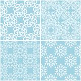 Floral patterns. Set of blue and white seamless backgrounds. Vector illustration Royalty Free Stock Image