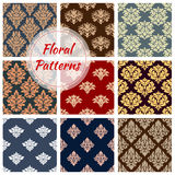 Floral patterns set, flourish vector ornament tile. Flowery Damask ornament patterns set. Seamless flourish ornate baroque vector tiles. Floral embellishment Stock Photography