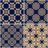 Floral patterns. Set of golden blue seamless backgrounds. Vector illustraton Stock Photos