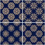 Floral patterns. Set of golden blue seamless backgrounds. Vector illustraton Royalty Free Stock Photos