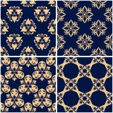 Floral patterns. Set of golden blue seamless backgrounds. Vector illustraton Stock Photo