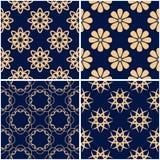 Floral patterns. Set of golden blue seamless backgrounds. Vector illustraton Stock Image