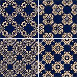 Floral patterns. Set of golden blue seamless backgrounds. Vector illustraton Royalty Free Stock Image