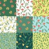 Floral patterns set. Set of 9 floral patterns. Seamless patterns Stock Photography