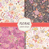 Floral patterns set. Set of seamless vector floral patterns, spring and summer backdrop. Hand drawn surface pattern design with flowers in garden. Seamless Royalty Free Stock Photography