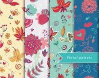 Floral patterns set. Set of textile color floral patterns Stock Photo