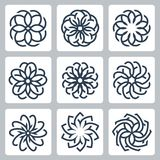 Floral patterns vector icons. Set Royalty Free Stock Photo