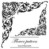 Floral patterns on a white background. Black floral patterns on a white background (decorative elements Stock Photo