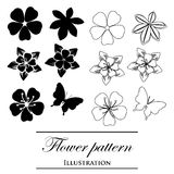 Floral patterns on a white background. Black floral patterns on a white background (decorative elements Royalty Free Stock Photo