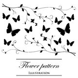 Floral patterns on a white background. Black floral patterns on a white background (decorative elements Stock Images