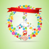 Floral Peace Card Stock Photo
