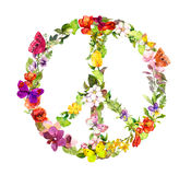 Floral peace sign with flowers, butterflies. Watercolor Royalty Free Stock Photography