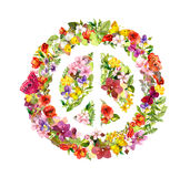 Floral peace sign with flowers, butterflies. Watercolor Royalty Free Stock Photos