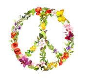 Floral peace sign with flowers. Watercolor Royalty Free Stock Photos