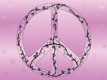 Floral Peace Sign Illustration. With tons of vines, leaves, and flowers Royalty Free Stock Photos