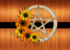 Floral Pentagram Background Stock Photo