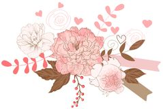 Floral peonies bouquet Stock Images