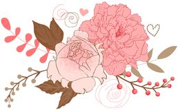 Floral peonies bouquet stock illustration