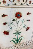 Floral Pietra dura (Parchin kami) work in the Taj Mahal, incorporating precious and semi-precious stones. Royalty Free Stock Photos