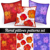 Floral pillows vector seamless patterns set Stock Images