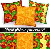 Floral pillows vector seamless patterns set Royalty Free Stock Photography