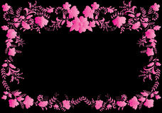 Floral pink on black frame Stock Image