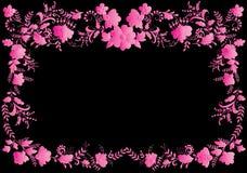 Floral pink on black frame Stock Image
