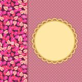 Floral Pink Elegant Greeting Card with Flower Print Part. Royalty Free Stock Photo