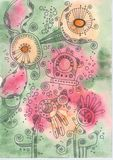 Floral pink-green doodles. Flower doodles on a watercolor background with green and pink spots Stock Photo
