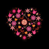 Floral pink heart Royalty Free Stock Photos