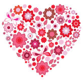 Floral pink Heart and butterfly. Over white Royalty Free Stock Photo